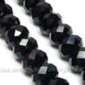 Facetuoto stiklo rondelės juodos 12x8 mm