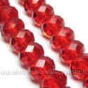 Facetuoto stiklo rondelės raudonos 12x8 mm