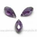 Tamsiai violetinis facetuotas stiklo lašiukas su blizgia AB danga 13x6mm