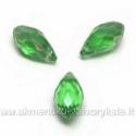 Žalias facetuotas stiklo lašiukas su blizgia AB danga 13x6mm