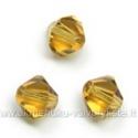 Čekiškas stiklas gintarinis dvipusio konuso formos 6 mm