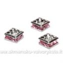 Intarpai kvadratiniai su rožinėmis akutėmis 6 mm
