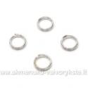 Dvigubi metaliniai žiedeliai sidabro spalvos 5 mm - 10 vnt.
