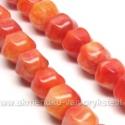 Žadeitas oranžinis briaunuoto rutuliuko formos 10 mm