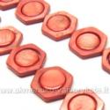 Kriauklės šešiakampiai su diskeliu tamsiai oranžiniai 16 mm