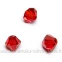 Čekiškas stiklas raudonas dvipusio konuso formos 4 mm