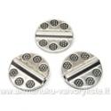 Tibeto sidabro intarpai diskelio formos su įspaustomis gėlytėmis13 mm