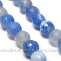 Natūralus ugininis agatas mėlynos spalvos 8 mm karoliukų juosta