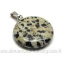 Dalmatininio jaspio akmenuko apvalus pakabutis