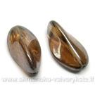 Rusvas stiklas tribriaunio lapelio formos padengtas švelniu perlamutru 24 mm