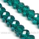 Facetuoto stiklo rondelės persiškos žalios spalvos 8x6 mm