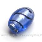 Lampwork stiklas mėlynas su juodais dryžiukais s 15x10 mm