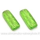 Stiklas žalias stačiakampis su įspausta gėlyte 20x8 mm