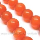Katės akis pastelinė raudonai oranžinė rutuliuko formos 12 mm