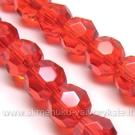 Stiklas facetuotas raudonas 10 mm