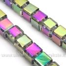 Stiklo kubeliai dengti įvairiaspalve vaivorykštine danga 6 mm