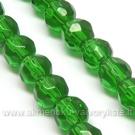 Stiklas žalias facetuotas 6 mm
