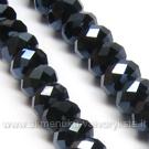Facetuoto stiklo rondelės juodos metalinės spalvos 6x4 mm