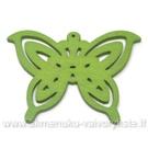 Medinis pakabukas - peteliškė žalias 4,4x6 cm