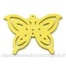 Medinis pakabukas - peteliškė geltonas 4,4x6 cm