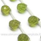 Facetuotas stiklas žalias lašiuko formos 8 mm