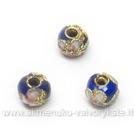 Cloisonne karoliukai mėlyni apvalūs 5 mm
