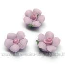 Alyvinės porceliano gėlytės neglazūruotos rankų darbo 14 mm