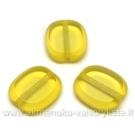 Geltonas stiklo karoliukas matiniais kraštais stačiakampio formos 14x12 mm