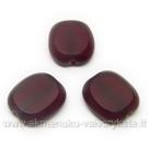 Tamsios rubino spalvos stiklo karoliukas matiniais kraštais stačiakampio formos 14x12 mm