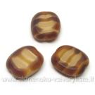 Karamelinis margas stiklo karoliukas matiniais kraštais stačiakampio formos 14x12 mm