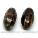 Stiklas tamsios karamelės spalvos margas šešiabriaunio ovalo formos 15x7 mm