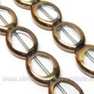 Stikliniai karoliukai skaidrūs ovaliniai padengti raudonuoju variu 17x14 mm