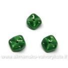 Žali stikliniai banguoto diskelio formos karoliukai-intarpai 10 mm