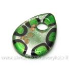 Lampwork stiklo pakabukas lašiukas žalias 45x33 mm
