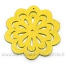 "Medinė ""gėlytė"" geltona 4,9 cm"