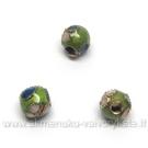 Cloisonne karoliukai žali apvalūs 5 mm