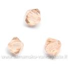 Čekiškas stiklas švelniai rausvas dvipusio konuso formos 4 mm