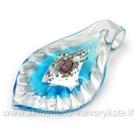 Lapo formos stiklinis pakabukas su folija žydras 67x39 mm