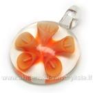 """Lampwork stiklo pakabutis """"Oranžinė Kalija"""" 42x30 mm"""