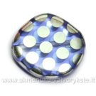 Stiklas melsvas taškuotas netaisyklingo disko formos 20 mm