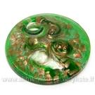 Rankų darbo disko formos lampwork stiklo pakabutis su aukso ir sidabro dulkėmis, žalios spalvos 50 mm