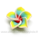 Rankų darbo polimerinio molio melsvai geltona gėlytė 20 mm