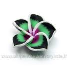 Rankų darbo polimerinio molio žaliai juoda gėlytė 20 mm