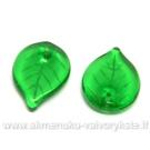 Žali stikliniai lapeliai 18x13 mm