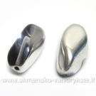 Skaidraus stiklo daugiabriaunis karoliukas su daline sidabro spalvos danga 16x8 mm