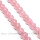 Natūralaus rožinio kvarco 6 mm karoliukų juosta