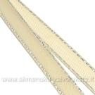Dramblio kaulo spalvos atlasinė juostelė su sidabro siūlų krašteliu 6mm pločio