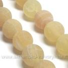 Medaus spalvos natūralaus matinio agato 10 mm karoliukų juosta
