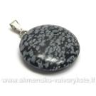 Snaiginio obsidiano akmenuko apvalus pakabutis