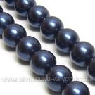 Tamsiai mėlynos spalvos kriauklės perlai 10 mm